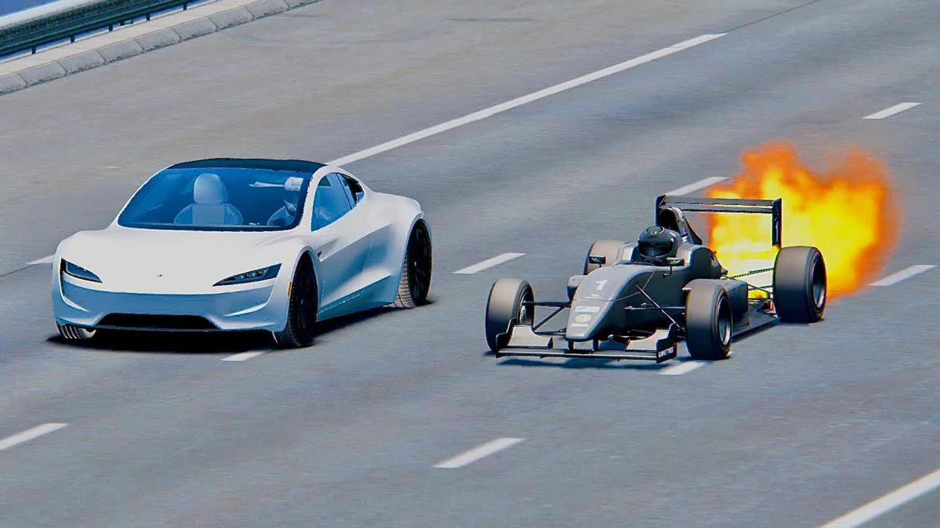 Watch Tesla Roadster Race Jet Engine Formula 1 Car Simulated Video