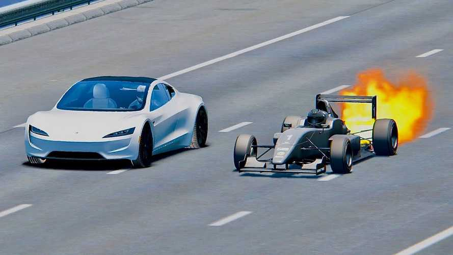 Watch Tesla Roadster Race Jet Engine Formula 1 Car:  Simulated Video