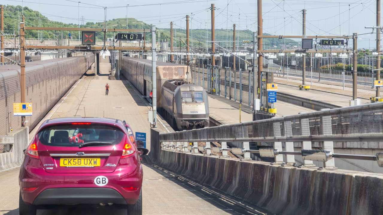 Cars boarding train for Channel Tunnel crossing between France and England