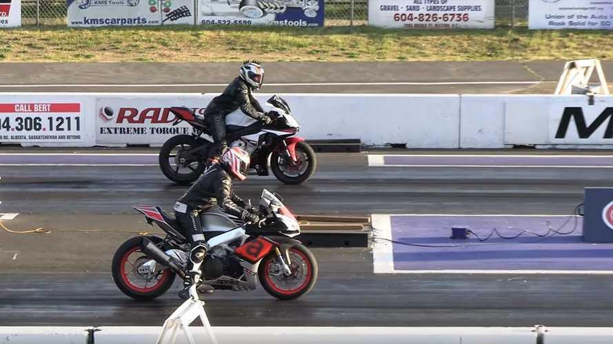 Aprilia RSV4 ile Yamaha R1 drag yarışında