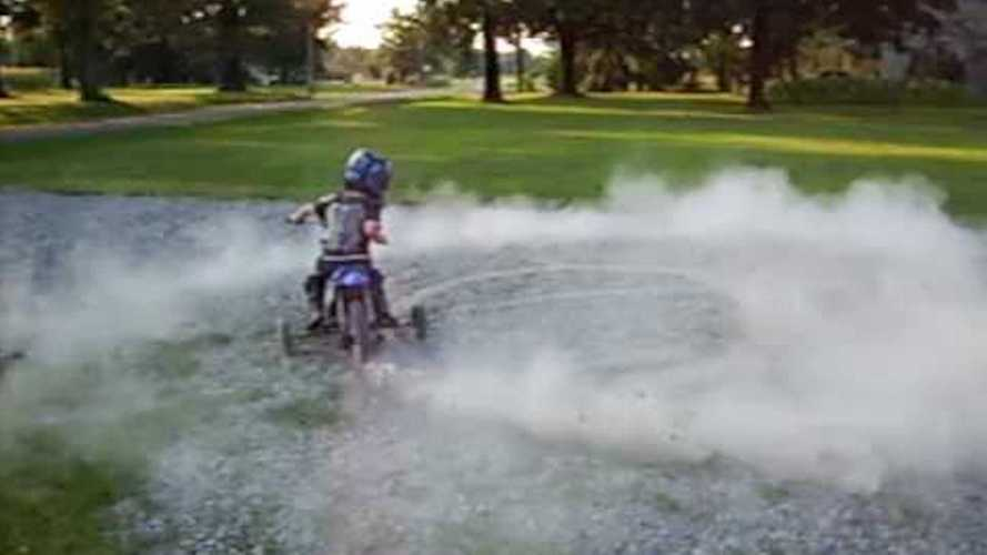 Watch This 4 Year-Old Do Donuts On A Dirt Bike!
