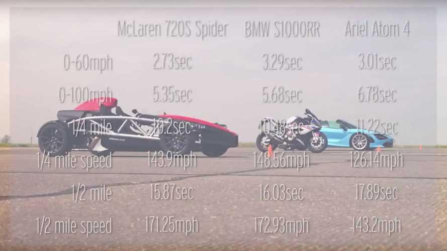 McLaren 720S vs BMW S1000RR vs Ariel Atom 4 Drag Yarışı