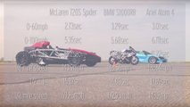McLaren 720S vs BMW S1000RR vs Ariel Atom 4 Drag Race