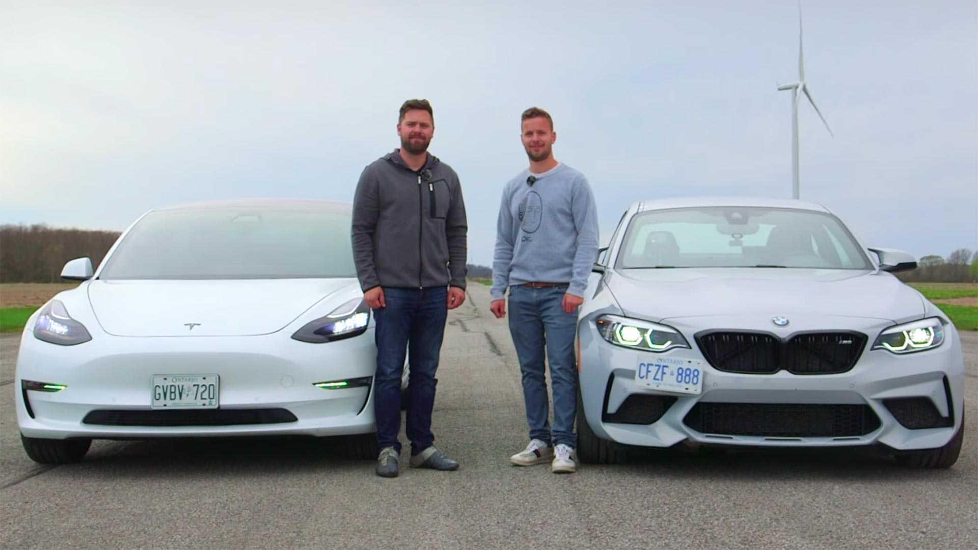 Watch A BMW M2 Competition Drag Race A Tesla Model 3