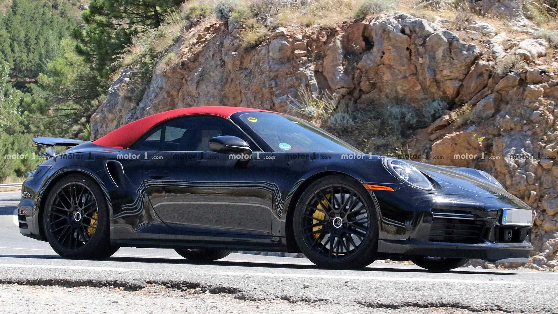 Porsche 911 Turbo Cabriolet Spied Wearing Eye Catching Red Roof