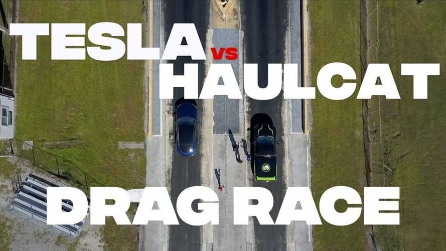 Watch Haulcat Dodge Ram 1500 Race Tesla Model S P100D