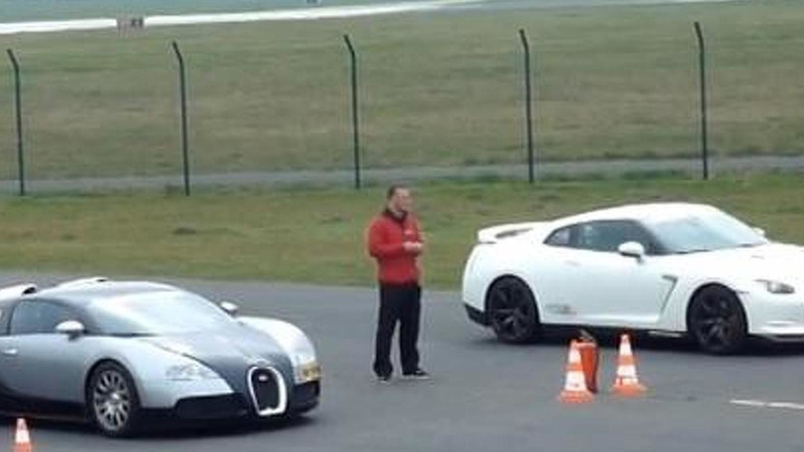 Drag race: Nissan GT-R Switzer P800 vs. Mansory Bugatti Veyron [video]