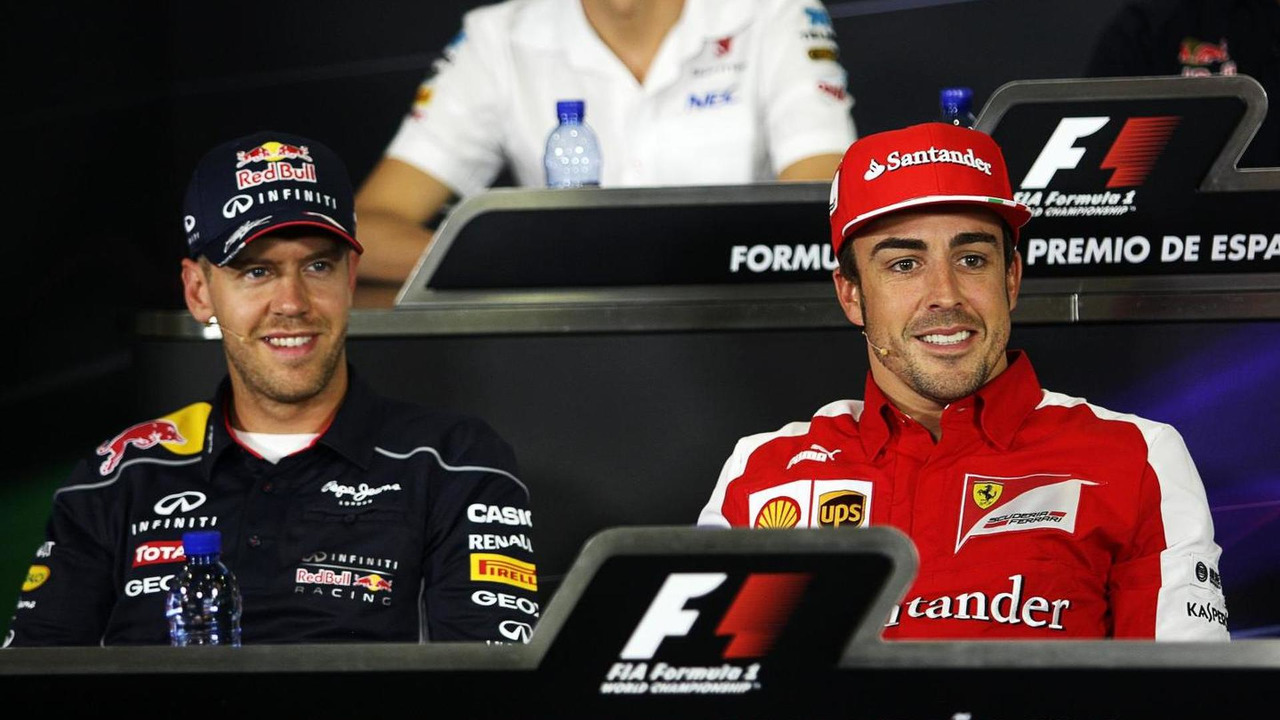 Sebastian Vettel with Fernando Alonso 09.05.2013 Spanish Grand Prix