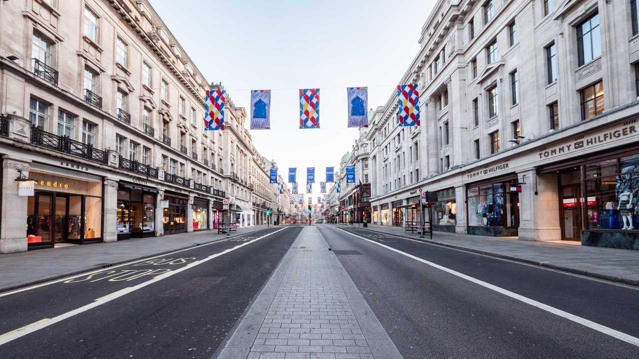 Empty Regent Street in London