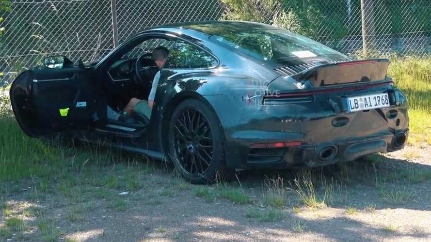 Porsche 911 spied with ducktail spoiler at the Nurburgring