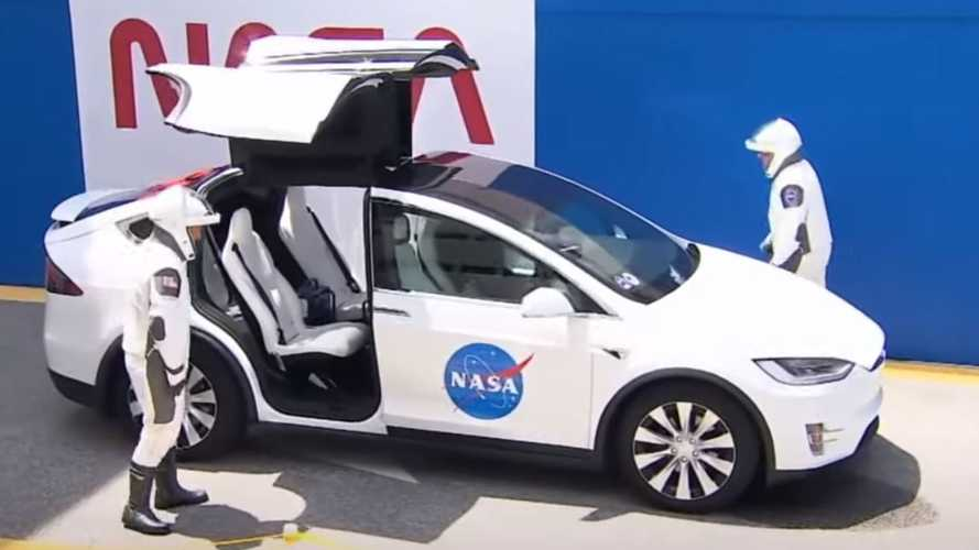 Watch NASA Astronauts Take Tesla Model X To Launch Pad For Manned SpaceX Flight