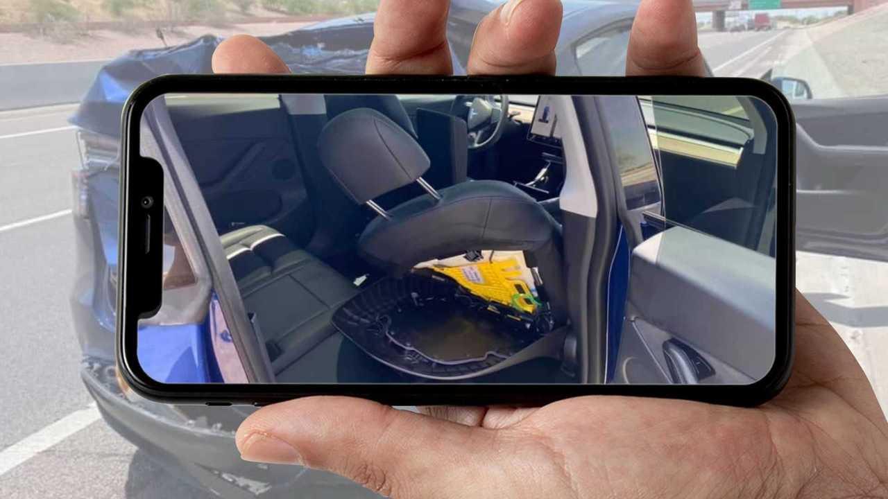 Tesla Model Y Gets Front Passenger Seat Twisted After Rear Crash