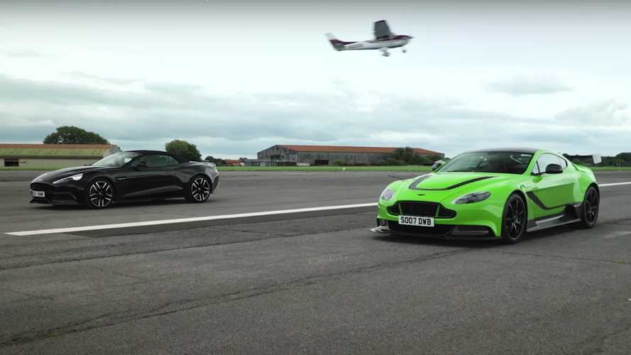 Aston Martin GT12 faces Vanquish Volante in NA V12 drag race duel
