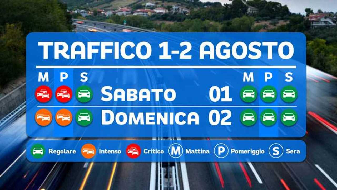 Previsioni traffico 1-2 agosto