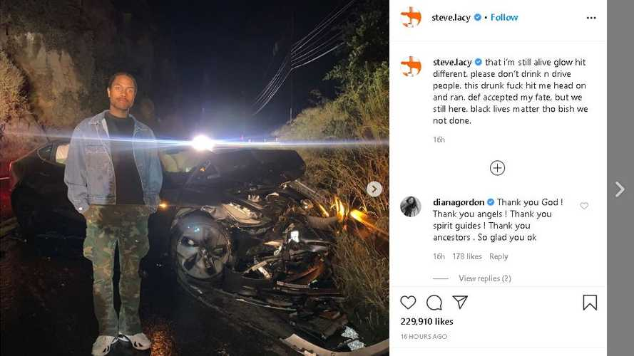 Tesla Model 3 saves music artist Steve Lacy in head-on drunk driver crash