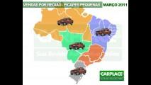 Brasil, março de 2011: Veja os modelos mais vendidos em cada região