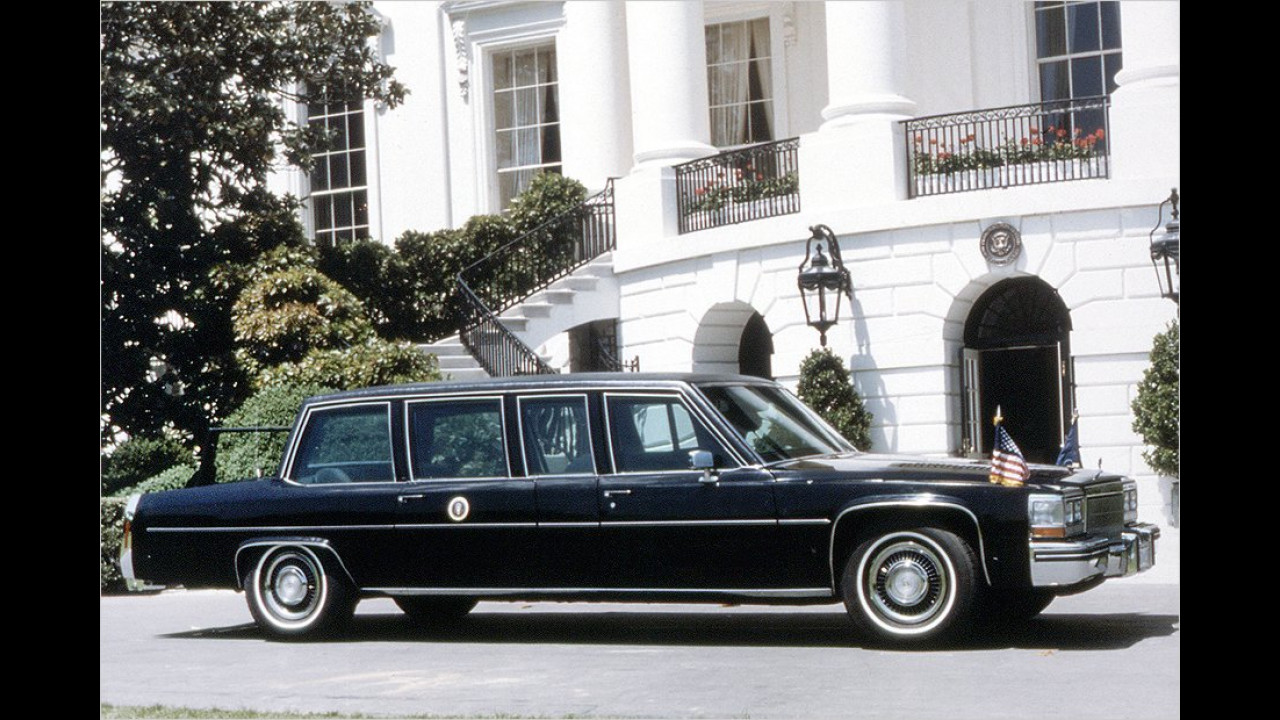 Dieser sehr eckig geratene Cadillac stammt aus dem Jahr 1984, der Amtszeit von Ronald Reagan (1981 bis 1989).