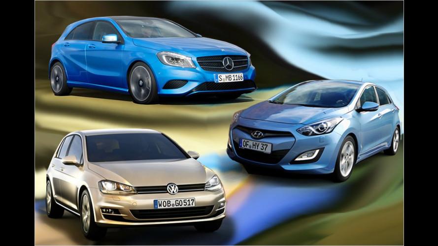 VW Golf, Mercedes A-Klasse und Hyundai i30 im Vergleich