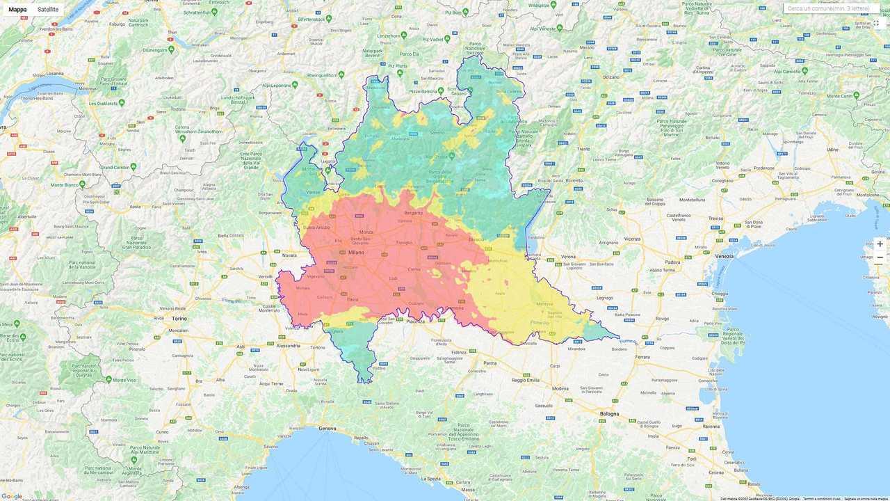 Mappa qualità dell'aria Lombardia