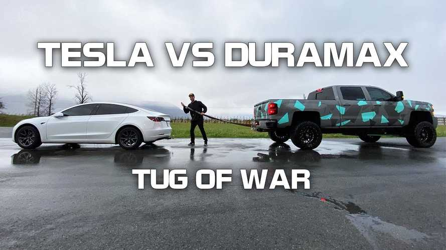 Watch Tesla Model 3 take an full-size Chevy pickup in tug of war