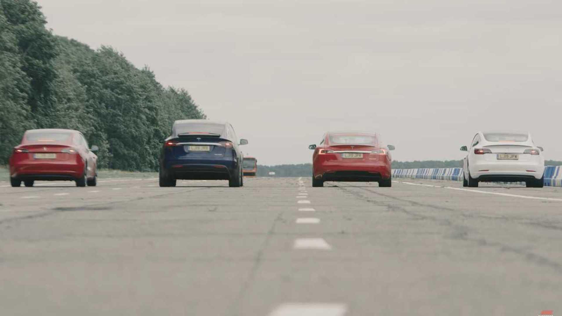 Watch An All-Tesla Drag Race: Model 3, Model S, Model X