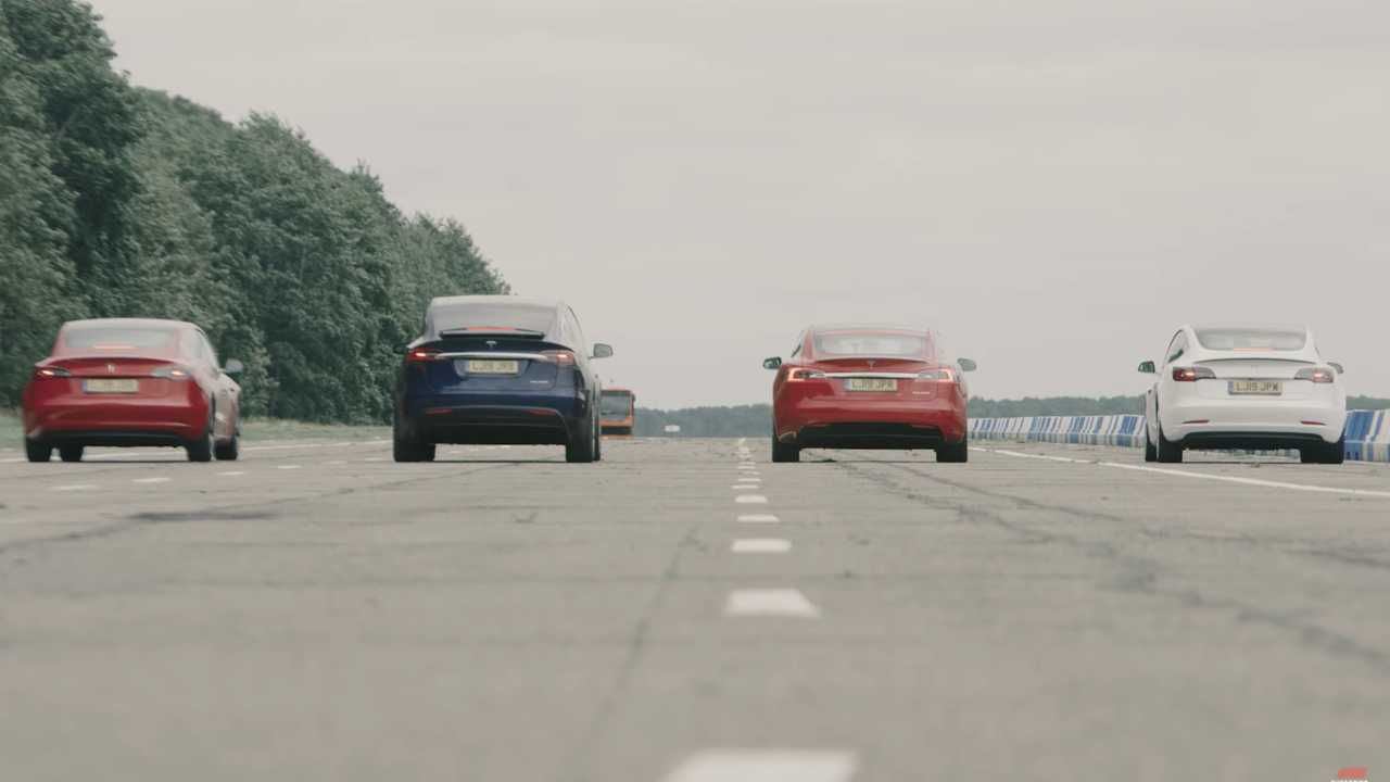 Watch An All-Tesla Drag Race: Model 3, Model S, Model X