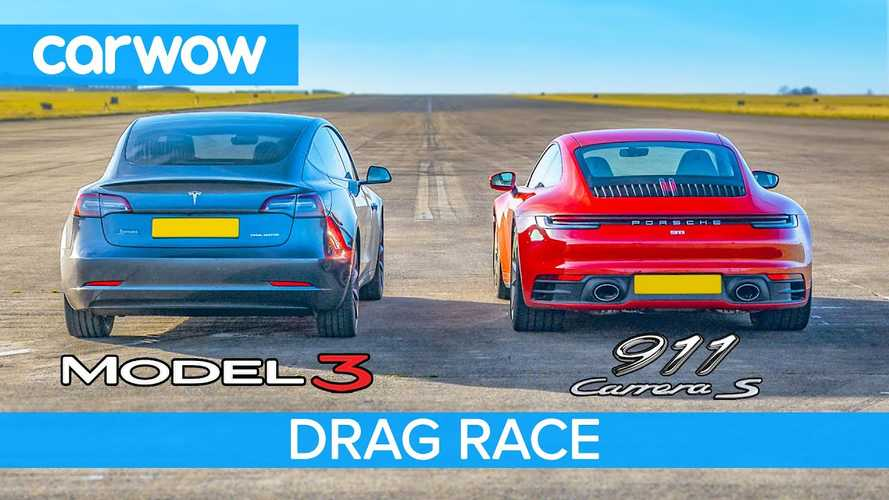 Tesla Model 3 drag races Porsche 911 with close results