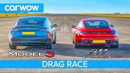 Tesla Model 3 drag races Porsche 911 with close results