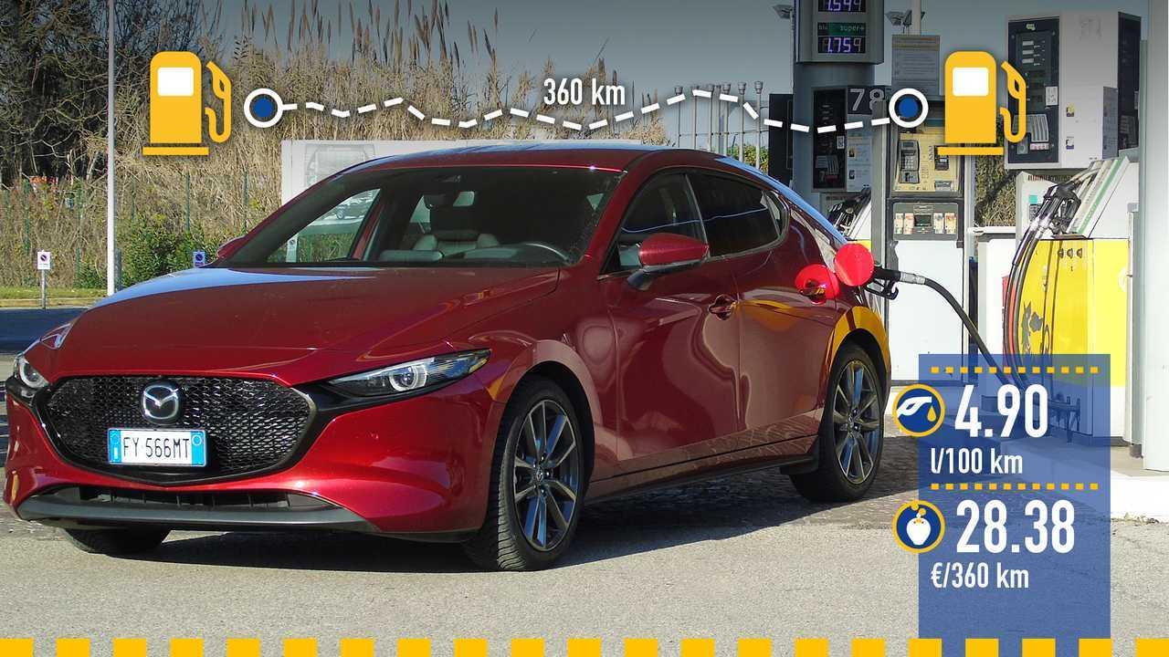 Mazda3 Skyactiv-X, la prova consumi