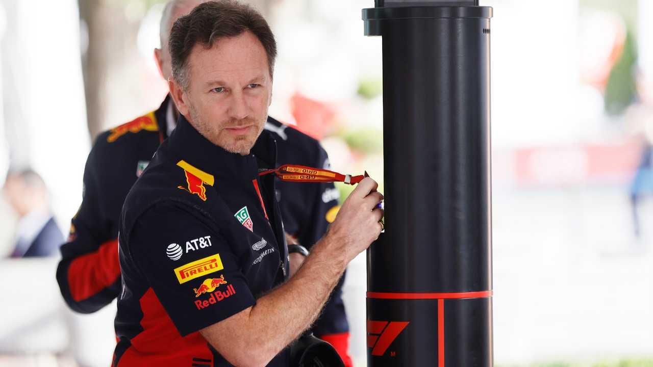 Christian Horner, Team Principal, Red Bull Racing, arrives in the paddock
