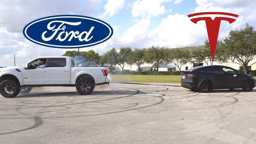 Watch Ford F-150 4x4 Lose In Tug Of War Battle To Tesla Model X