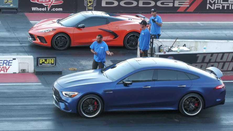 Mercedes-AMG GT 63 drag races Corvette C8 in Germany vs USA duel