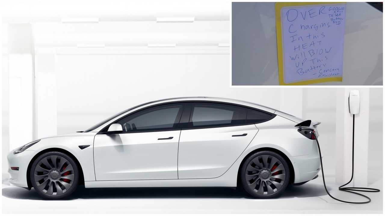 Tesla Model 3 and note left by person who unplugged it