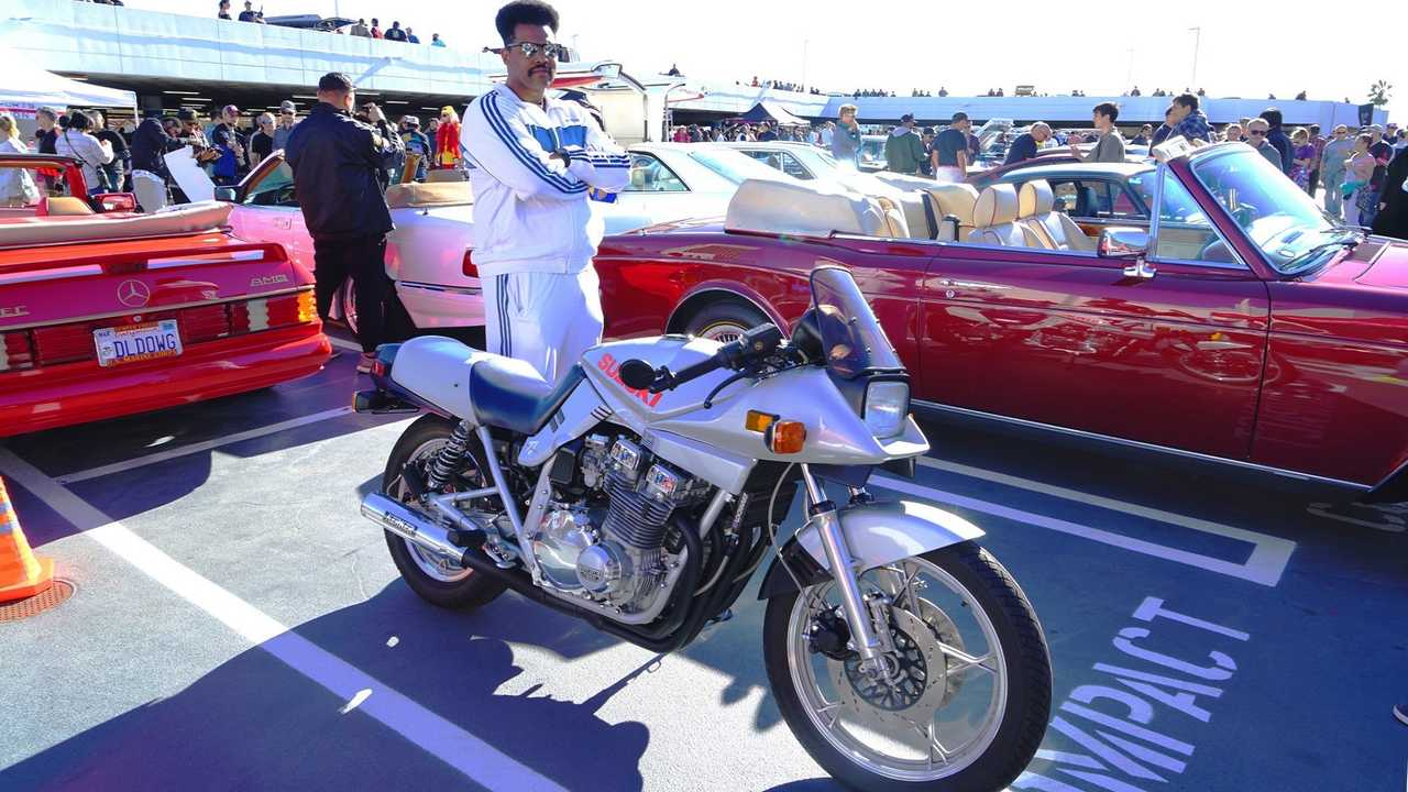 George can ride a Suzuki Katana 1100 in a track suit cause he's tougher than leather