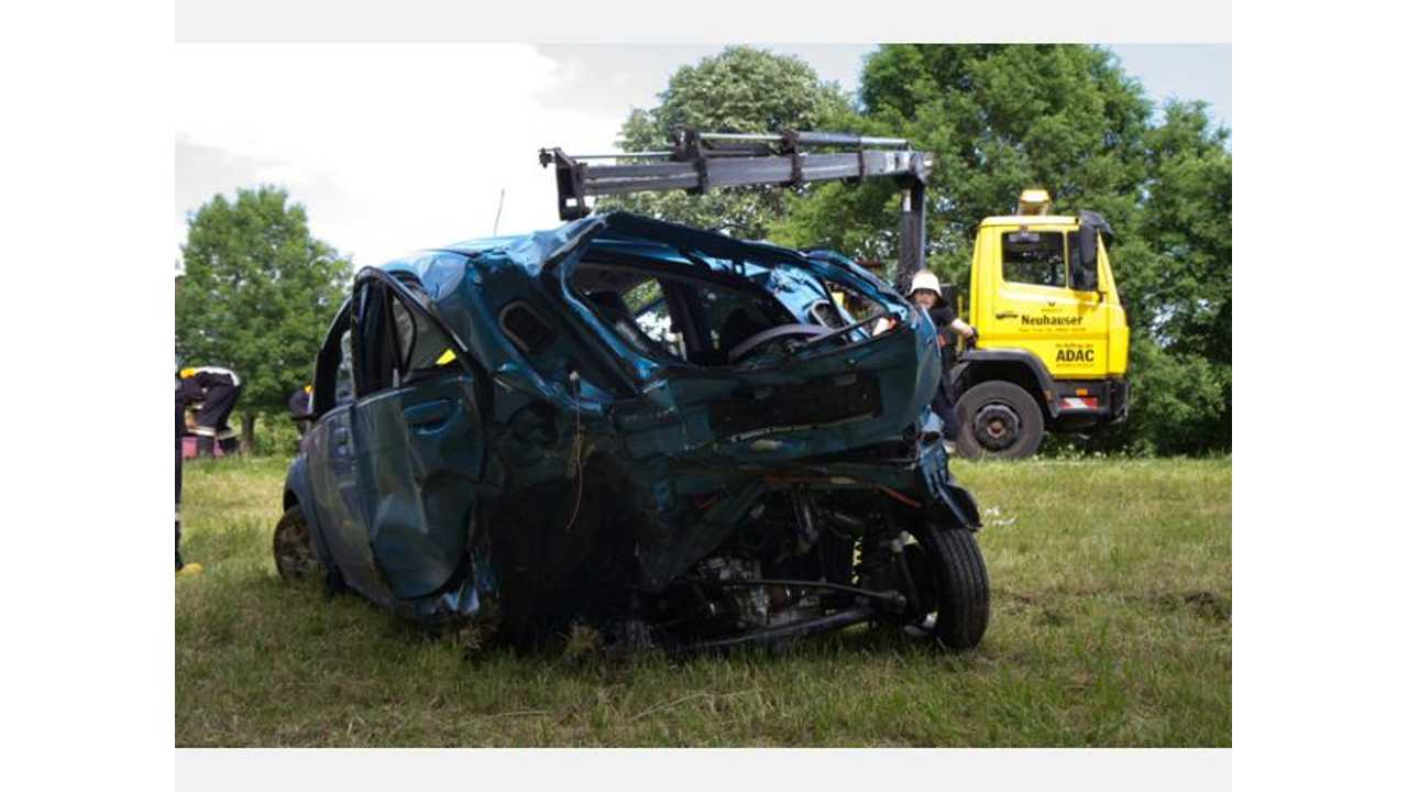 Plug-In Pic of the Day: Peugeot iOn is Half Its Original Size After Crash
