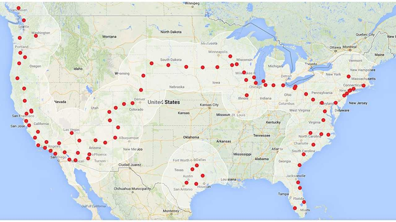 Tesla Quickly Completing Coast-to-Coast US Electric Supercharger Highway (UPDATE)
