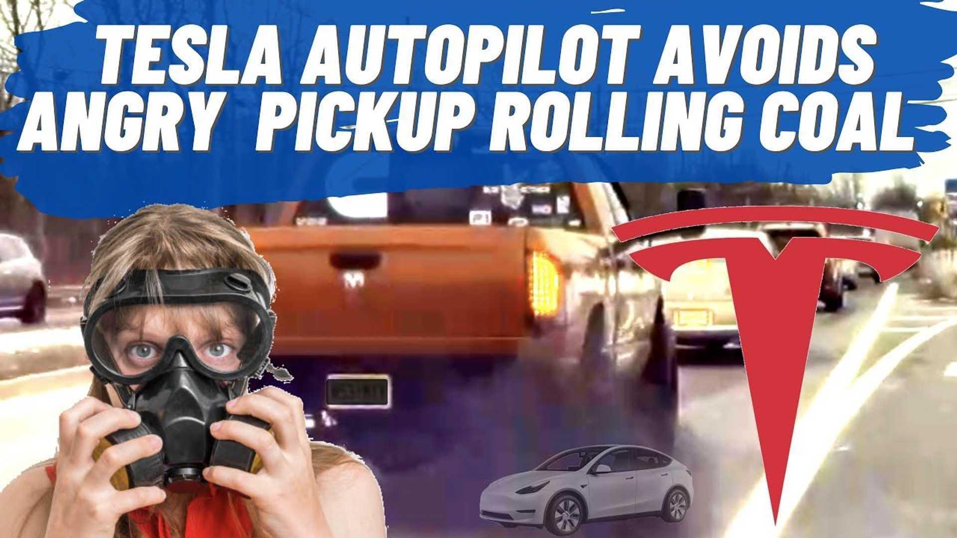 Watch Tesla Model Y On Autopilot Avoid Coal-Rolling Ram Diesel Truck