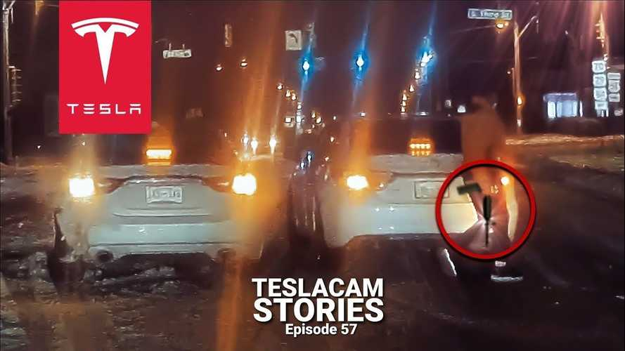 TeslaCam & Fox News Van Stumble Upon Guy With Rifle