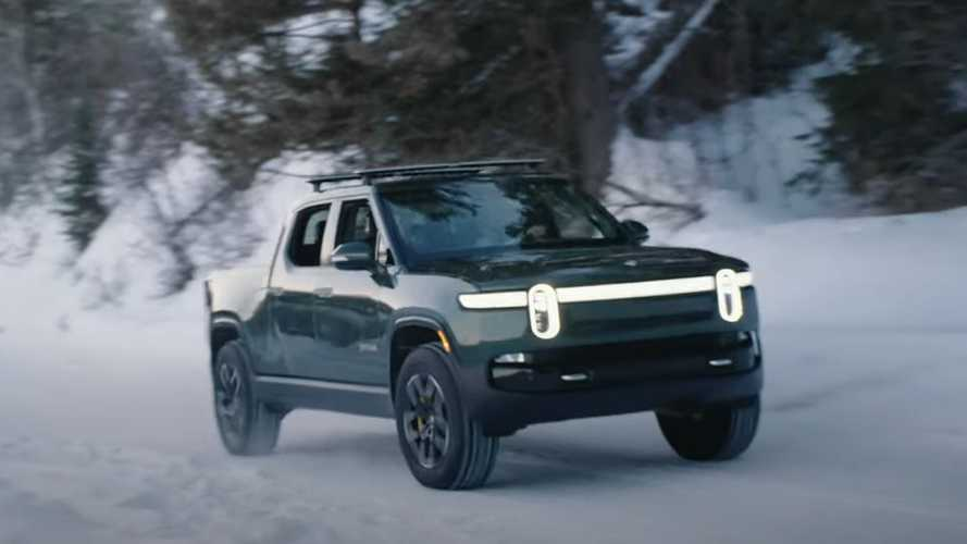 Watch Rivian R1T Take Long Weekend Trip Tackling Wyoming's Snowy Slopes