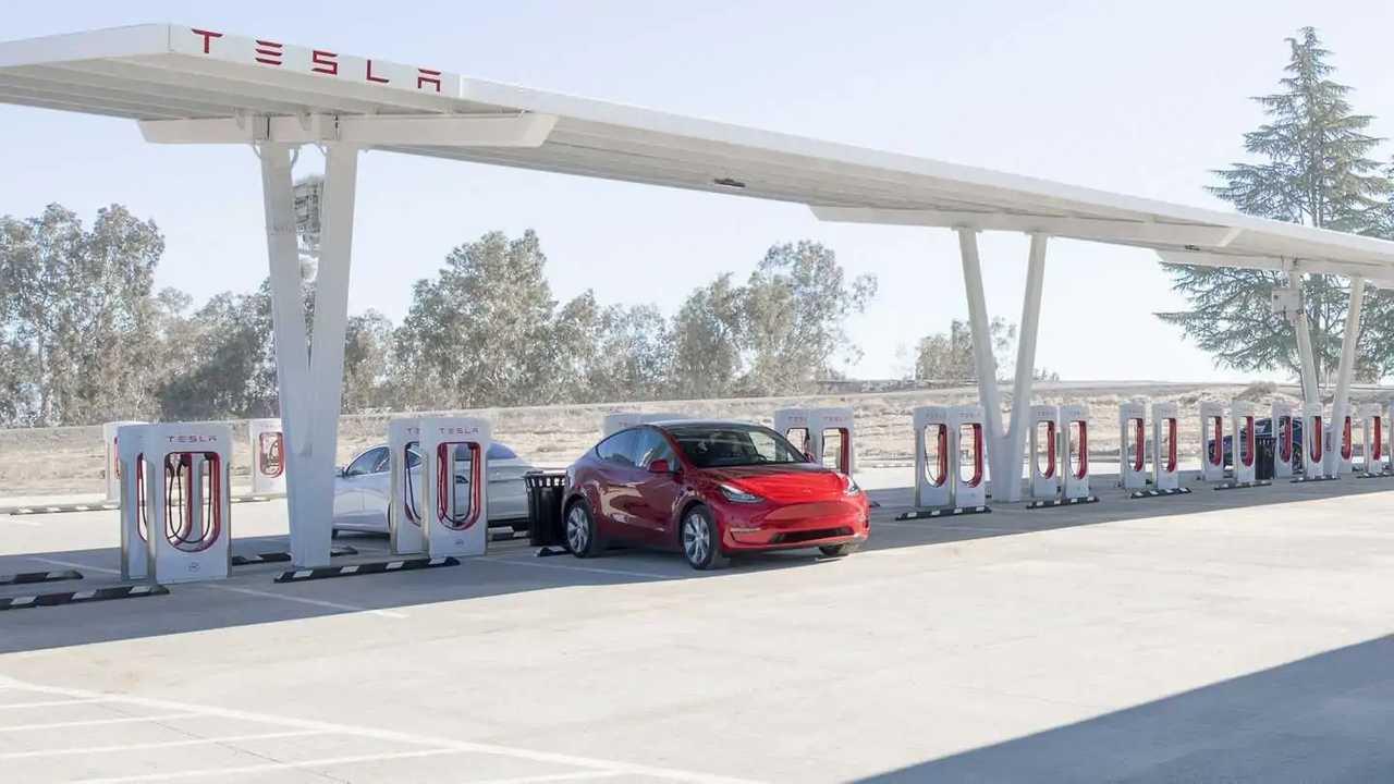 Tesla Model Y at a Supercharging station