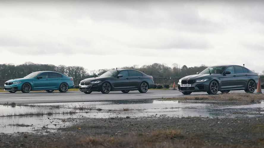 BMW M550i, M5 Competition ve bir modifiyeli M5 yarışıyor!