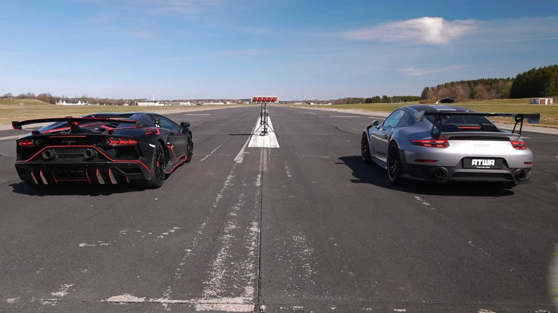 photo of Aventador SVJ Pitted Against 911 GT2 RS In Quarter-Mile Drag Race image