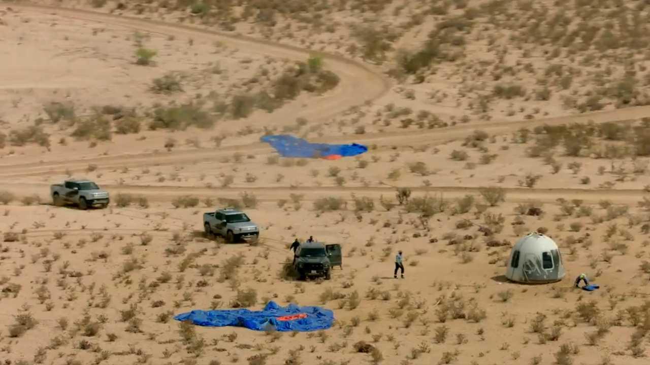 Blue Origin's Rivian R1T driven by Jeff Bezos