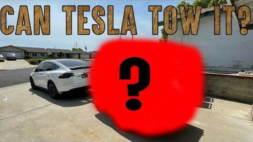 Check Out This Tesla Model X Towing A Teardrop Camper