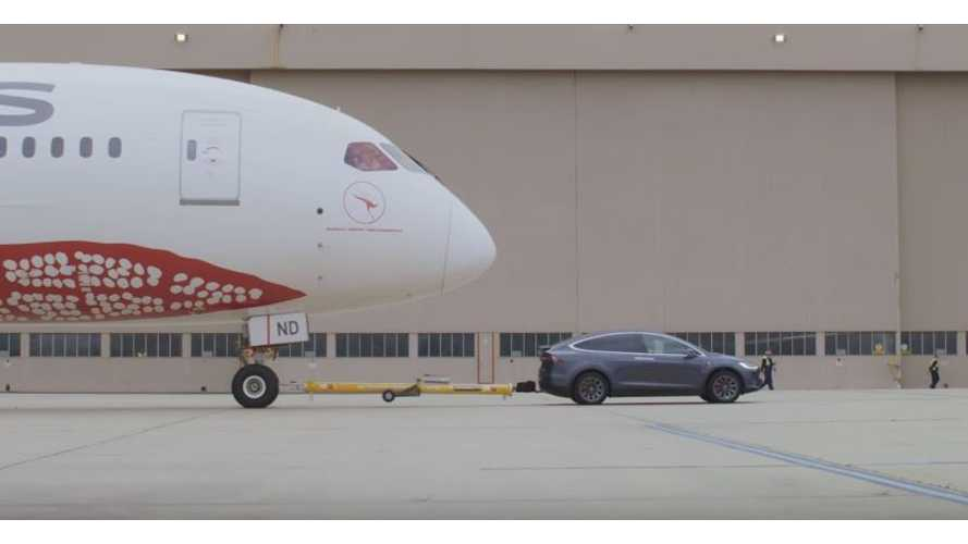 Watch A Tesla Model X Tow A Boeing 787-9 Dreamliner