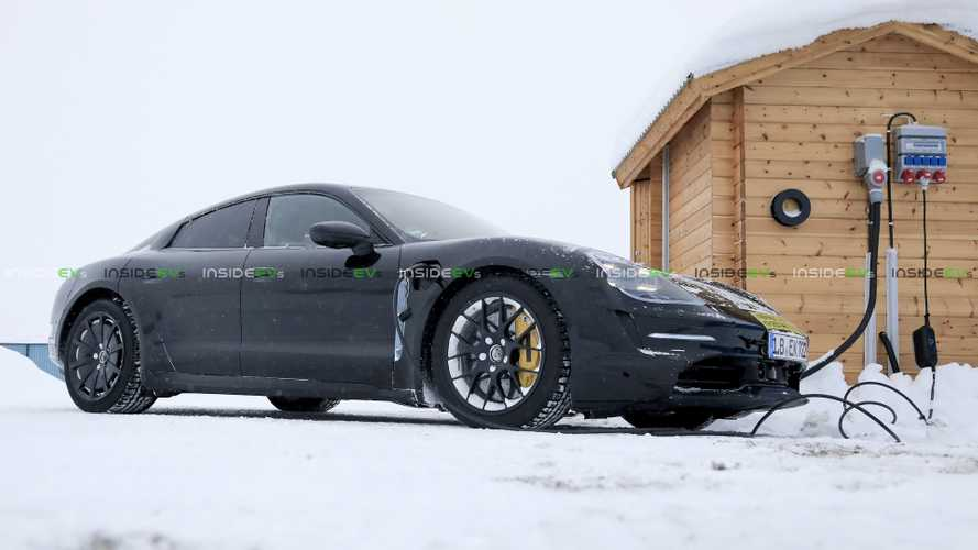 Porsche Taycan Electric Car Spied Charging In Wintry Scandinavia