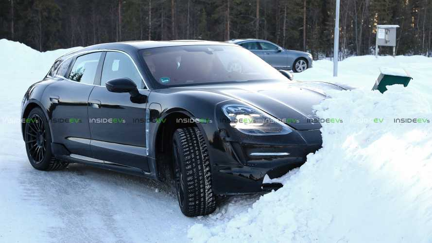 Porsche Taycan Wagon Spotted Playing In Snow
