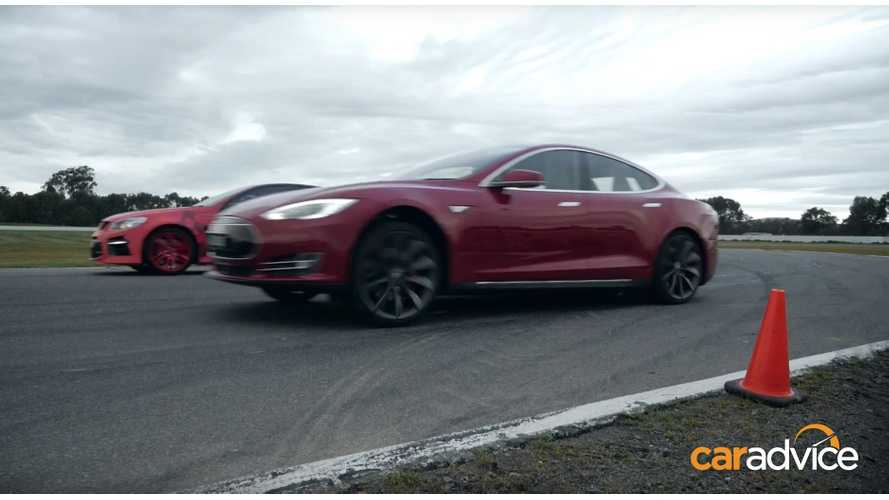 Tesla Model S P85D Versus Australia's Fastest Four-Door Sedans - Race Video