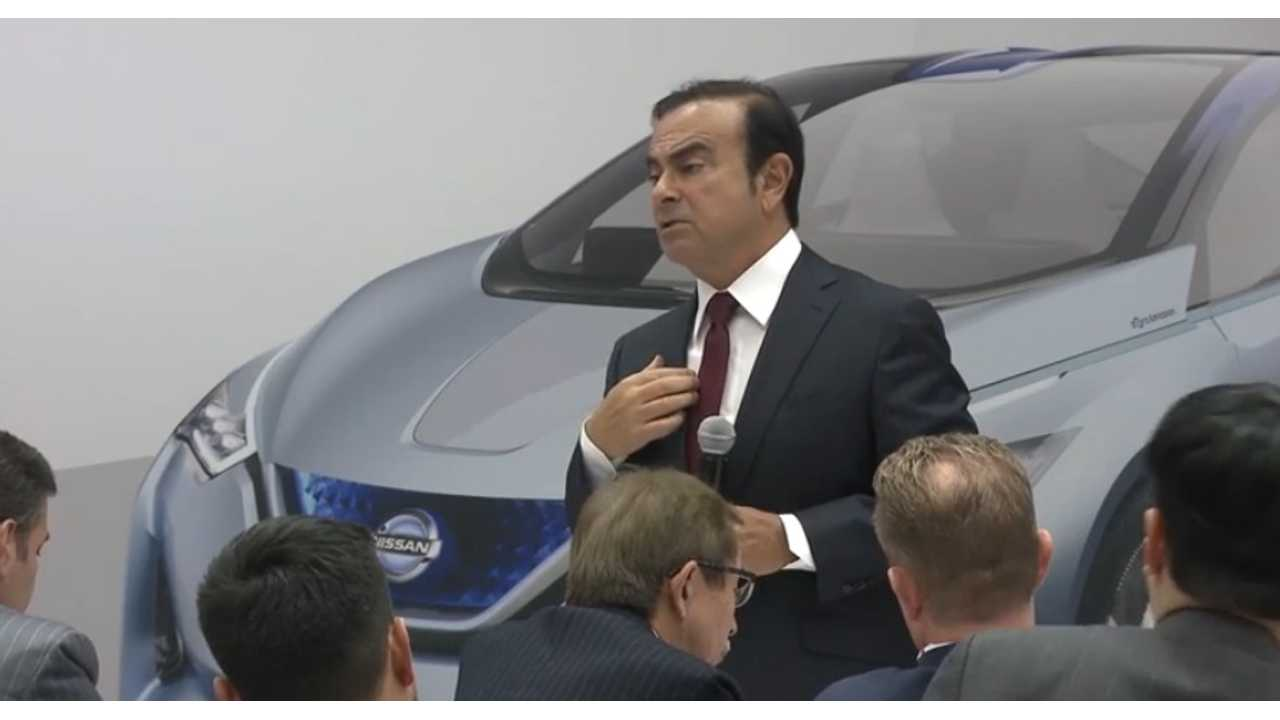Ghosn From Detroit In January: No, I can't talk about the next gen LEAF. What is this huge picture behind me? Nothing.