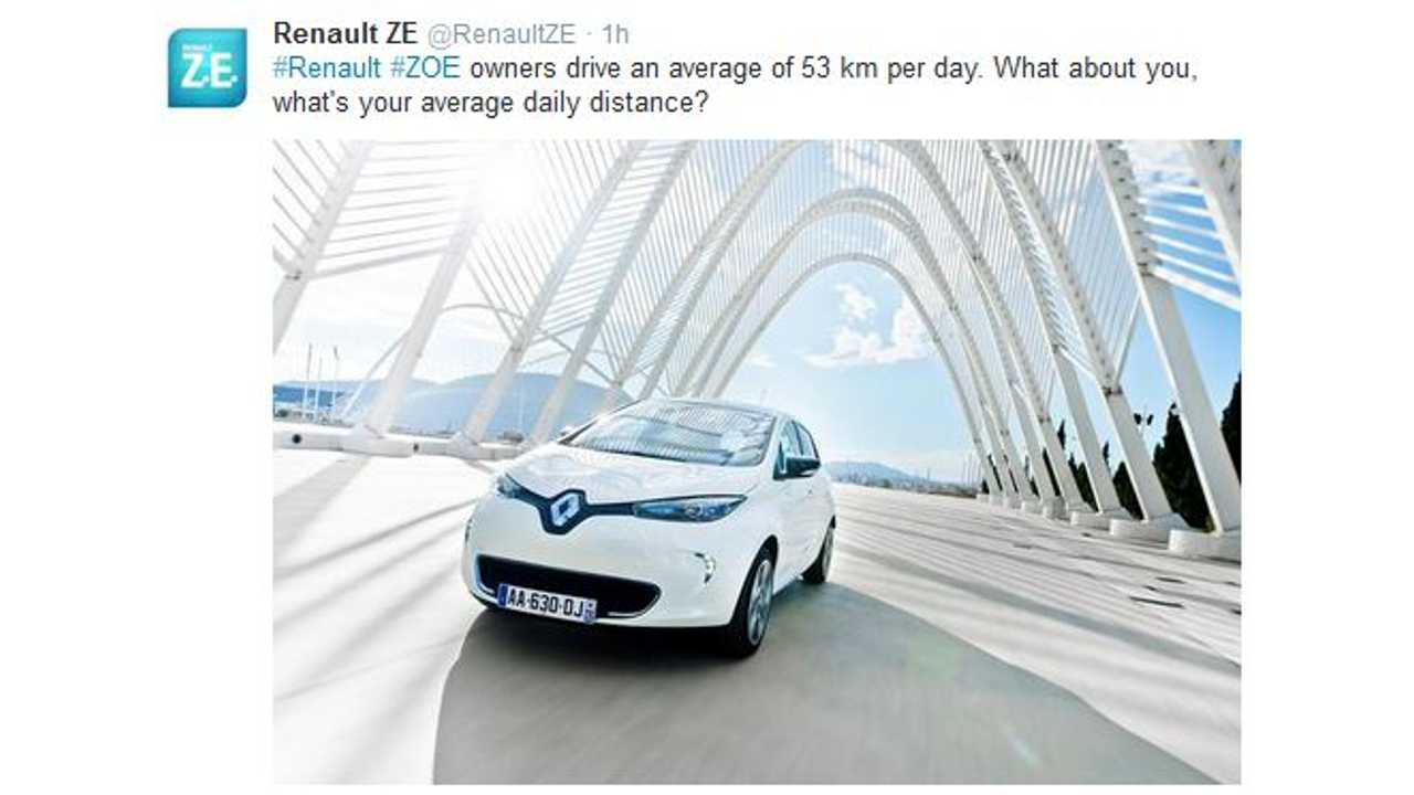 Average Renault Zoe Owner Drives Only 33 Miles Per Day